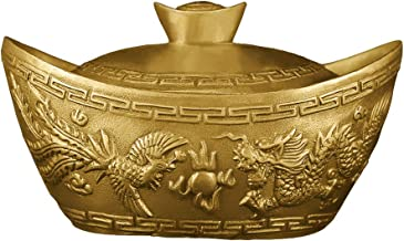"""Brass Ingot with Lid Statue 5.7""""(L) Feng Shui Home Decor Container Style Talisman Wealth Sculpture Gift Collection PTZY028"""