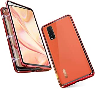 Case for Oppo Find X2 Pro 5G Cover Magnetic Adsorption Shock-Absorbing Case Metal Bumper Frame with Transparent Tempered G...
