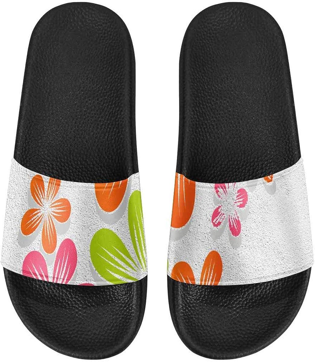 InterestPrint Women's Casual Slide Sandals for Indoor Outdoor Gold Floral