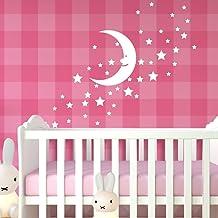 Wandora W1532 Muursticker sterren maan I pastel roze I meisje jongens sticker zelfklevende muursticker kinderkamer slaapkamer