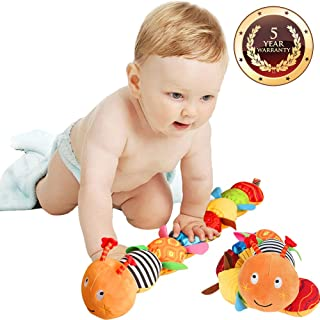 Jcobay Musical Caterpillar Toy, Interactive Multicolored Infant Toy Stuffed Cuddly Baby Toy with Ruler Design, Bells and Rattle Educational Toddler Plush Toy for Newborn, Boys, Girls and Over 3 Month