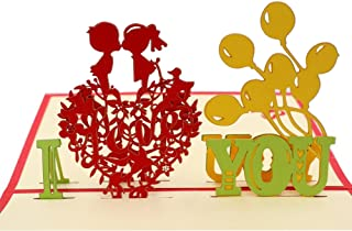 IShareCards Handmade 3D Pop Up Greeting Cards for Valentines,Lovers,Couple's Happy Anniversary Gifts (Kiss ILOVEYOU)