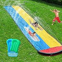 Lawn Water slip and slide for Kids, 15.7FT Garden Backyard Splash Pool with Crash pad, Summer Outdoor Water Toys Waterslide with Built in bilateral Sprinkler, Water Splash Slide with 2 Boogie Boards