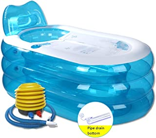 Piscinas hinchables Bañera Inflable Bañera De Hidromasaje Bañera para Adulto Curado Baño del Baño Bañera Individual PVC Bañera Plegable Bañera Pequeña + Bomba De Pie