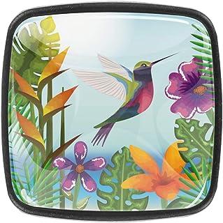 Jardín tropical y exótico con colibrí de cristal de cristal para gabinetes tiradores de cajones con tornillos para pecho...