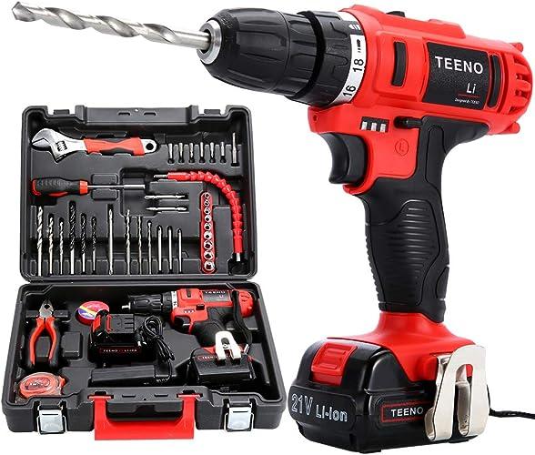 Teeno li, trapano avvitatore senza fili 21v + 2 batterie al litio+ 41 accessori + guanti professionali 5819-it 1