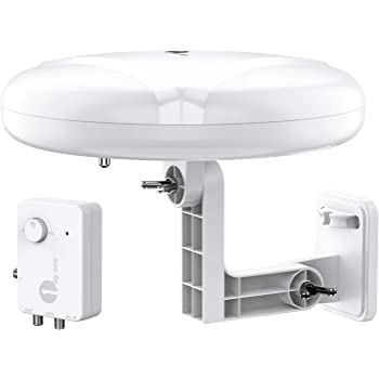 HDTV Antenna - 1byone 360° Omni-Directional Reception Amplified Outdoor TV Antenna Long Range for Indoor,Outdoor,RV,Attic Support 4K 1080P UHF VHF Free HDTV Channels - Support 2 TVs