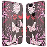 Google Nexus 6P Wallet Case, CoverON [Carryall Series] Flip Folio Card Slot Pouch Cover Screen Protector + Strap Case for Google Nexus 6P - Pink Butterfly Design