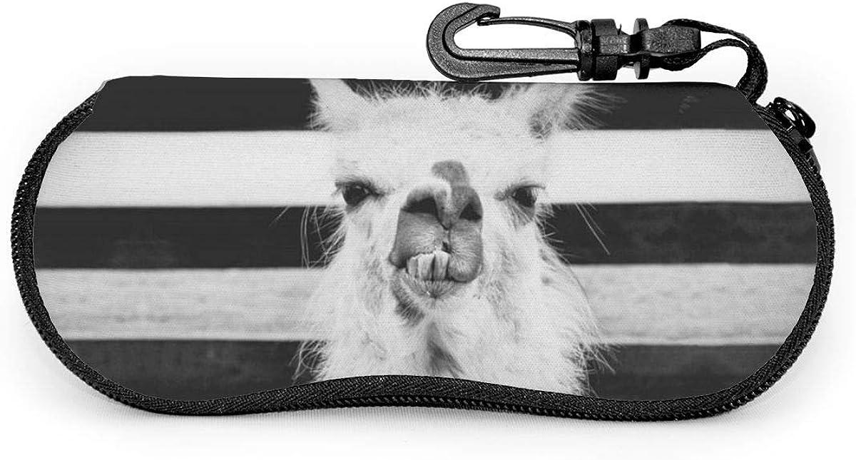 Vintage Llama With Attitude Animal Art Sunglasses Soft Case Ultra Light Neoprene Zipper Eyeglass Case With Key Chain