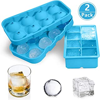 Large Ice Cube Trays, GDREAMT 2 Pack Silicone Sphere Ice Ball Maker with Lid & Easy Release Big Square Ice Cube Molds for Whiskey, Cocktail & Bourbon - Reusable and BPA Free