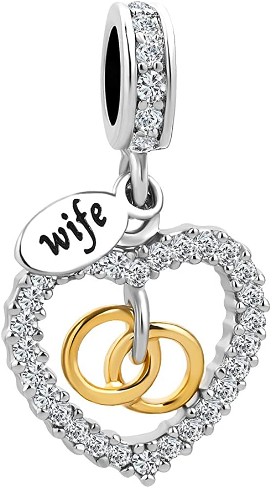 Lifequeen Heart Love My Wife Charm Valentine's Day Gift Charm Beads for Bracelets