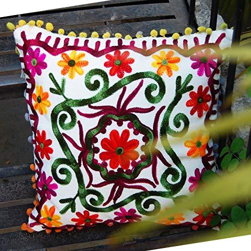 Traditional Jaipur Boho Throw Suzani Pillow - Funda de cojín bordada 40,6 x 40,6 cm, funda de almohada decorativa con pompones indios para exteriores, fundas de almohada bohemias