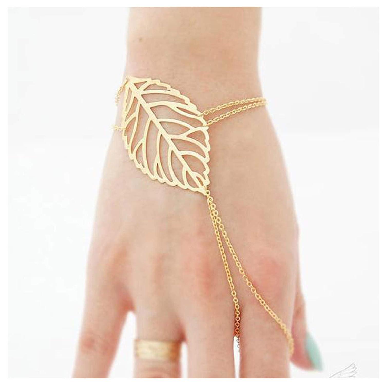 TseanYi Boho Leaf Finger Ring Bracelet Gold Slave Bracelets Hand