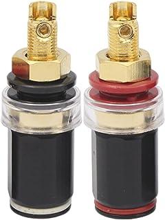 MERIGLARE Terminal de banana de 2 pares Poste de ligação do cabo de áudio banhado a ouro Conector do amplificador Terminal...
