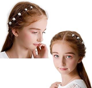 Cemellia 子供 花 ヘアアクセサリー 結婚式 発表会 フラワークリップ 花 ヘッドドレス フォーマル 髪飾り ドレス小物 七五三 パーティーフラワーガール