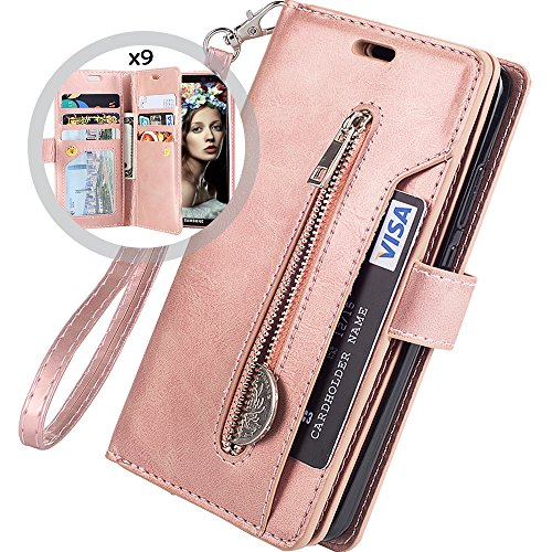 Galaxy S7 Wallet Case for Women/Men,Auker Trifold 9 Card Holder Premium Folio Flip Leather Magnetic Wallet Case with Strap Full Body Protective Zipper Pocket Purse Case for Samsung Galaxy S7 Rose Gold