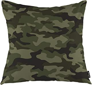 oFloral Military Camouflage Throw Pillow Covers Army Hunting Mask Forest Green Curve Wave Decorative Square Pillow Case 18