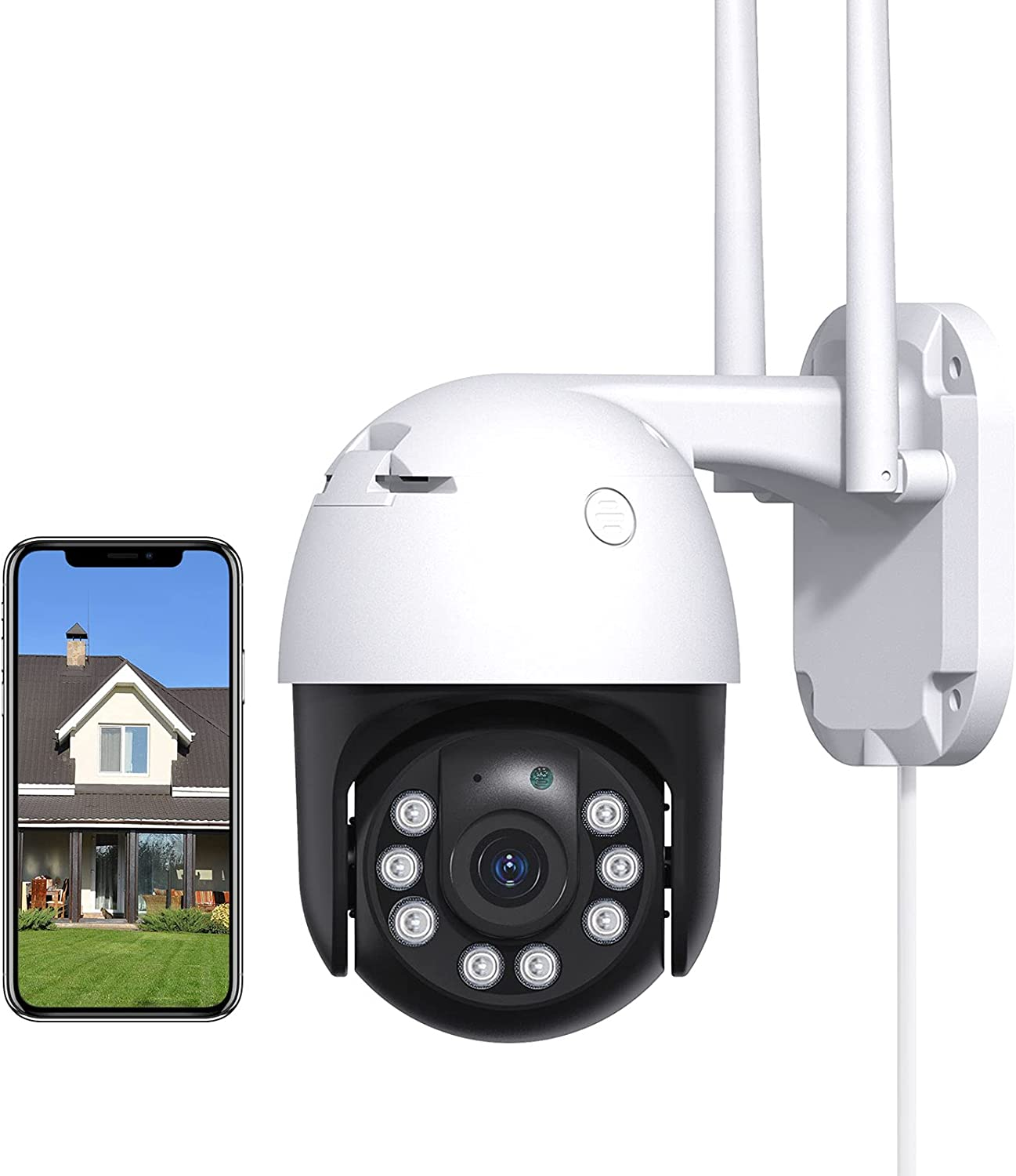 Security Camera Outdoor with 1080P Color Night Vision, 360° View, Motion Tracking, Instant Alerts, IP65 Weatherproof, Works with Alexa,Remote Monitoring, 2.4GHz WiFi Connection for Home Surveillance