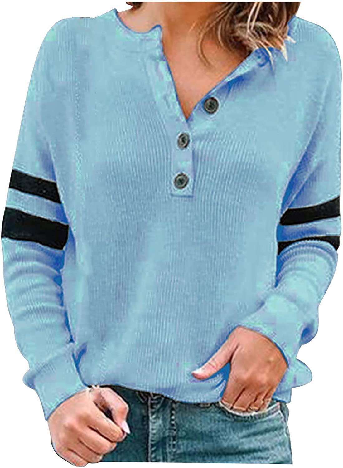 Women's Sweatshirts Pullover Knitted Ribbed Tops V Neck Long Sleeve Blouse Solid Button up Shirts