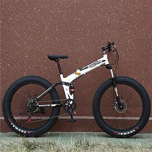 XIAOFEI Bicicleta Nieve Plegable Doble AbsorcióN Choque Velocidad Variable Freno Disco Bicicleta MontañA 26 Pulgadas 4.0 Rueda Ancha NeumáTico Gordo Bicicleta MontañA,D,26IN