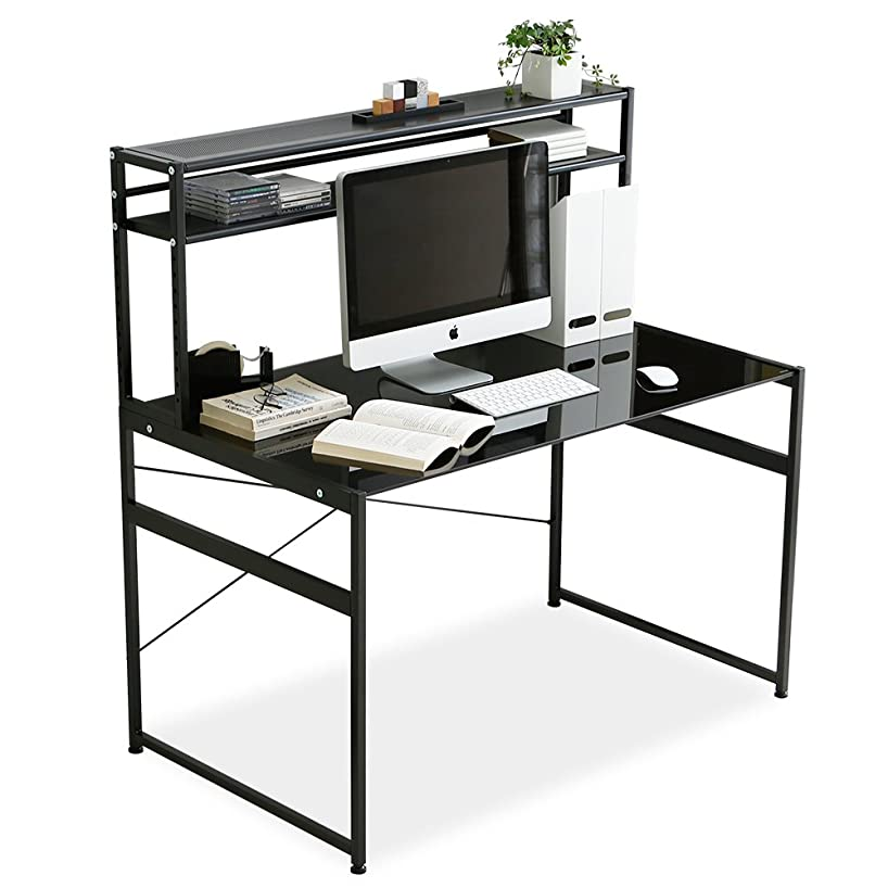 クリーナーツインモニターLOWYA 机 パソコンデスク デスク PCデスク 可動棚 ガラス天板 幅120cm ブラック