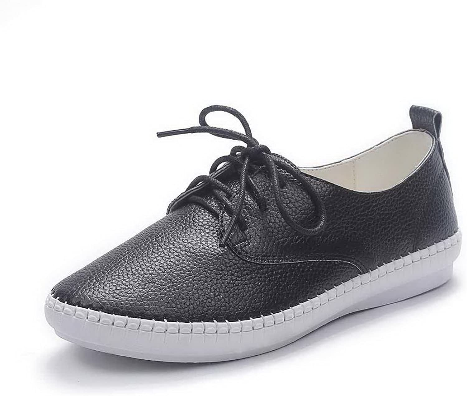 AdeeSu Girls Lace-Up Low Heels Casual Leather Pumps shoes