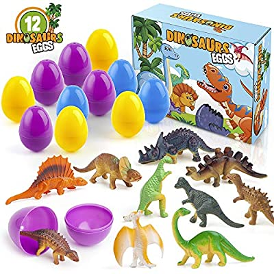 SHJACOB 12 Pcs Easter Dinosaur Eggs Toys Dinosaur Toy Set for 3+ Year Old Kids Colorful Surprise Prefilled Easter Eggs Bulk Dinosaur Gift Kit for Easter Theme Party Favor, Easter Eggs Hunt, Basket Stuffers Filler, Classroom Prize Supplies
