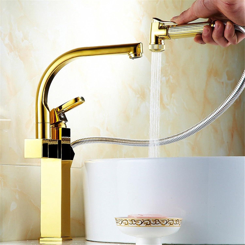 ETERNAL QUALITY Badezimmer Wasserhahn Messing Hahn Waschraum Mischer Tippen Sie auf Zurück-Küche Wasserhahn verGoldete Kalt-und Warmwasser Mischventil Single-Waschtisch Armatur A