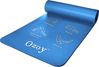 Ozoy 13 mm Extra Thick Yoga and Exercise Mat 14 Position Guide Anti Skid with Carrying Strap for Gym Workout and Flooring ...