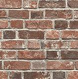 New NextWall Distressed Brick Peel and Stick Wallpaper (Red)