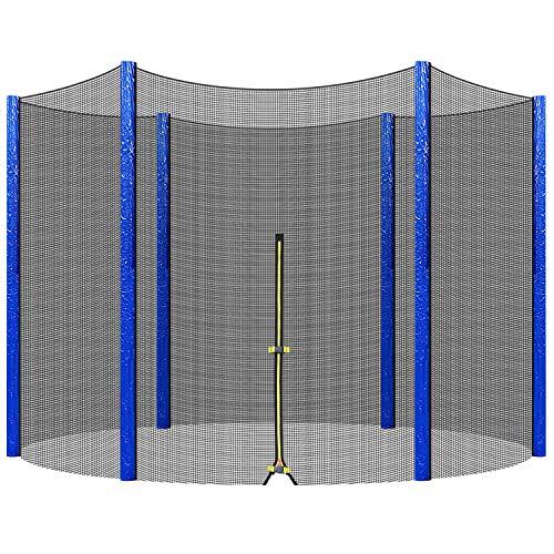 Femor Rete di Sicurezza per Trampolino Rete di Ricambio per Trampolino da Giardino con Cerniera, Ø244/305/366 cm, Antistrappo, Resistente agli UV Adatto per 6/8 Pali (Ø244)