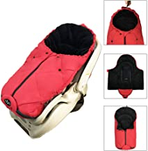 Newborn Baby Swaddle Blanket, Cozy Warm Coral Fleece Universal Car Seat Bunting Bag, Protect Baby from Cold, 0-6 Monthes, Red