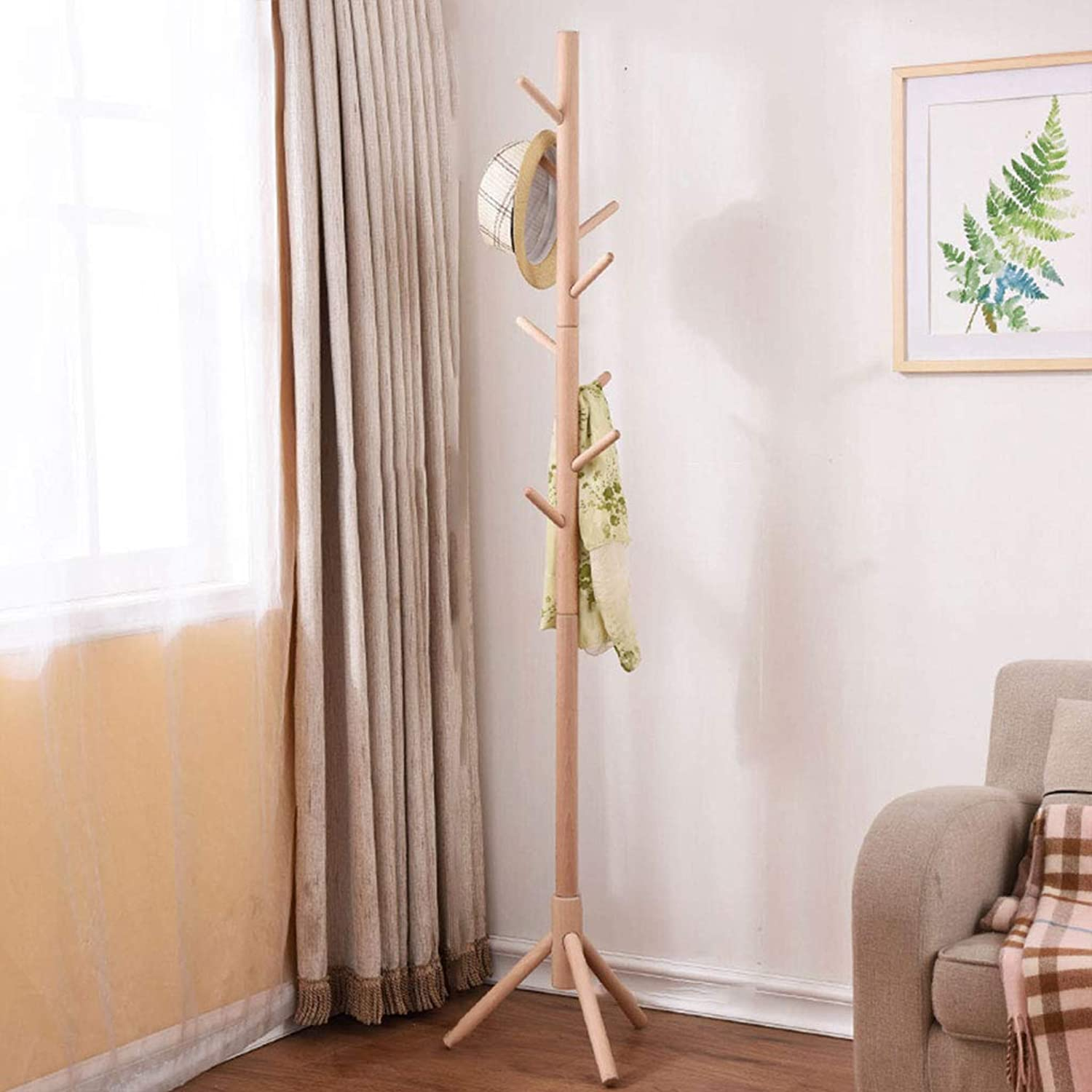 Wooden Coat Rack Floor Bedroom Simple Clothes Rack Living Room Porch Single Pole Hanger (8 Hooks) (color   A)