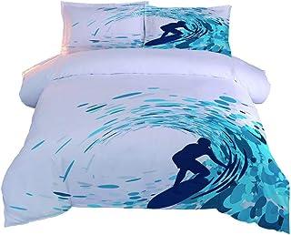 XKALXO Juego de Funda de edredón de 3 Piezas 150 x 200cm Surf en la Playa Microfibra Funda Edredon Suave Transpirable y 2 Funda de Almohada - 50x75 cm