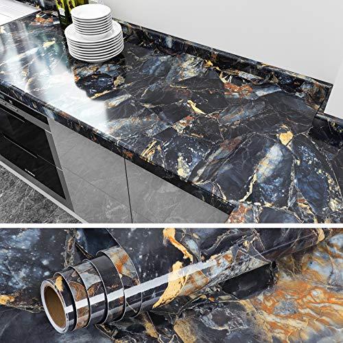 VEELIKE Adhesivo Mármol Papel Pintado Pared Impermeable Papel para Forrar Muebles Papel Tapiz para Decorar Dormitorio Sala Habitación 40cm x 900cm