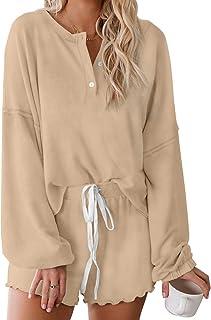 Sponsored Ad - Bdcoco Womens Ruffle Short Lounge Set 2 Piece Long Sleeve Tops and Shorts Button Pajama Sets Sleepwear