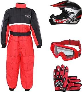 Leopard LEO-X19 Rojo Casco de Motocross para Niños (S 49-50cm) + Gafas + Guantes (S 5cm) + Traje de Motocross para Niños - XS (3-4 Años)