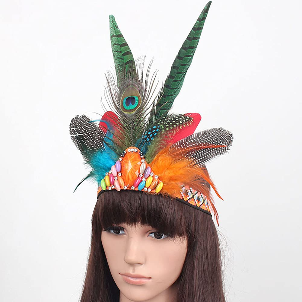 Peacock Feathers Headband Burlesque Fascinator Headpiece Mardi Gras Crown Headdress Carnival Costumes Outfit for Women Caribbean Fancy Party