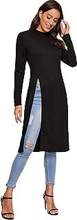 Romwe Women's Long Sleeve Casual Split Front Mock Neck Solid Longline Blouse Tops Tee