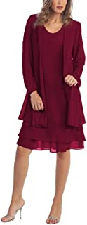Chiffon Plus Size Mother of The Bride Dresses with Jacket Knee Length