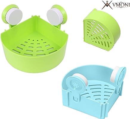 Vmoni Plastic Inter-Design Bathroom, Kitchen Storage Organizer Shelf Rack   Triangle Shower Corner Caddy for Bathroom and Kitchen (Assorted Color)