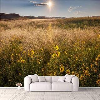 Modern 3D PVC Design Removable Wallpaper for Bedroom Living Room Sunflower Prairie at Sunrise Wallpaper Stick and Peel Wal...