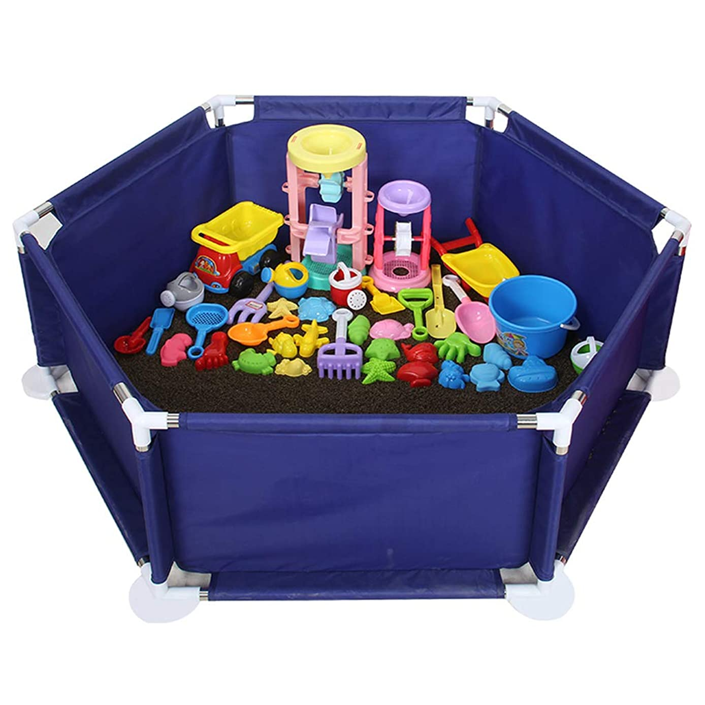 Baby Playpens Safety Playyard Tents Infant Fence Kids Activity Centre (30 Playballs are Included, 1 Hexagonal Pad)