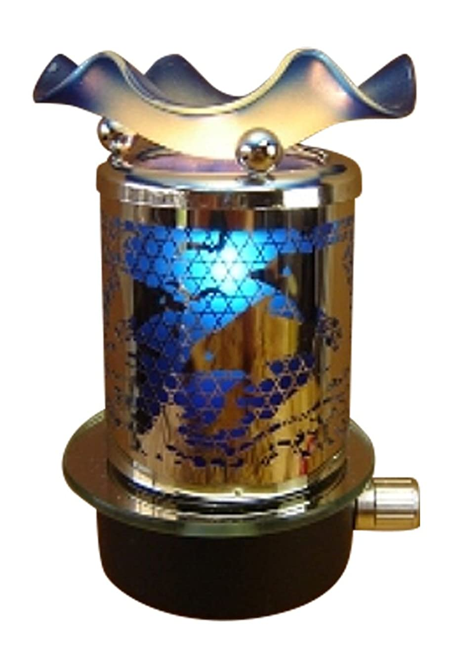L&V Electric Metal Plug In Night Light Wax Burner Oil Warmer Blue Dolphins Design