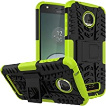 Moto Z Play Droid Case,Yiakeng Shockproof Impact Protection Tough Rugged Dual Layer Protective Case Cover with Kickstand for Motorola Moto Z Play Droid (Grreen)