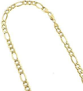 14k Yellow Gold 6.5mm Diamond Cut Alternate Figaro Lite Chain Necklace or Bracelet Lobster Claw