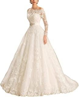 Fair Lady Appliques Long Sleeves Scoop Lace Wedding Dress 2019 Beaded Belt Bridal Gowns Plus Dresses
