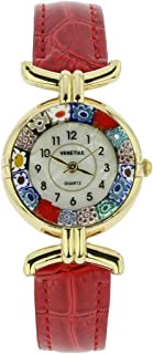 Murano Glass Millefiori Watch with Leather Band - Red