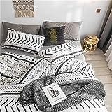 BBSET Juego de funda de edredón bohemio Queen con diseño étnico de rayas negras y blancas, 100 % algodón natural con 3 piezas de funda nórdica ultrasuave, transpirable, resistente a la luz