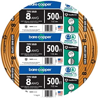 Southwire 10632802 500 ft. 8 Solid Bare Copper Wire, 8 Guage